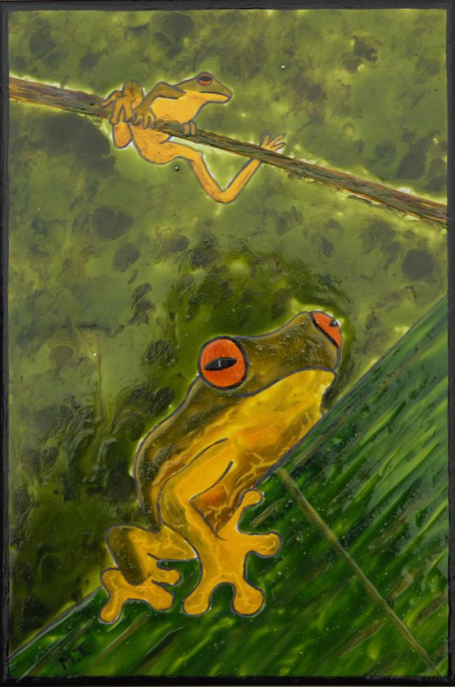 Hand painted frog tile  suitable for outdoor decorating and ready to hang #ceramicfeaturetile #outdoorart #gardenart #outdoordecorating #outdoordecor #handpaintedtileart http://www.margantiledesign.com.au/gallery