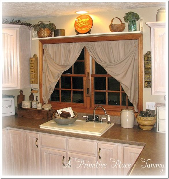 Shelf Above Kitchen Window. Primitive Farmhouse A