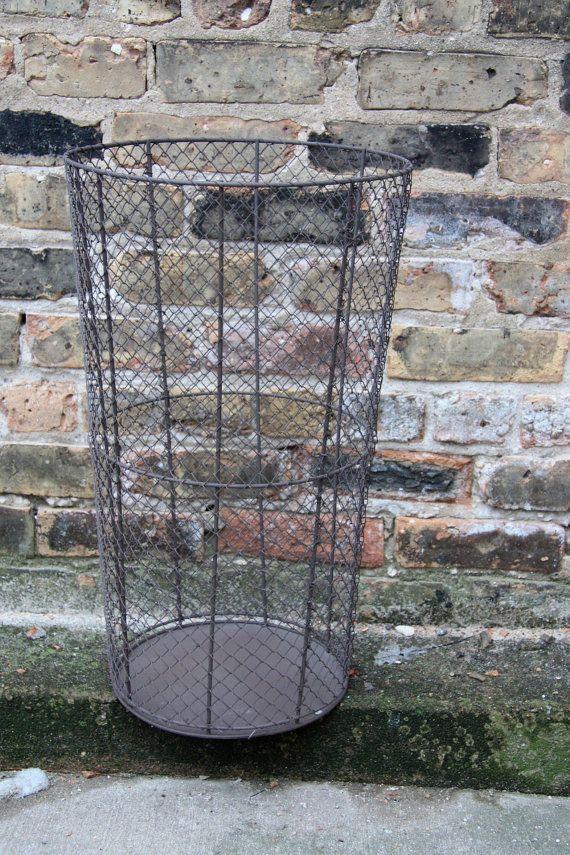 Vintage Industrial Tall Metal Basket or Trash Bin