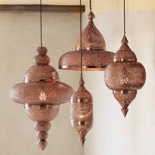 Moroccan Hanging Lamp Collection Bright Copper