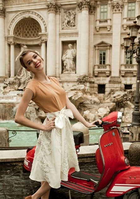 It is one of my dreams in life to own a Vespa. And drive it around Rome. Doing it in this dress would be ok too.