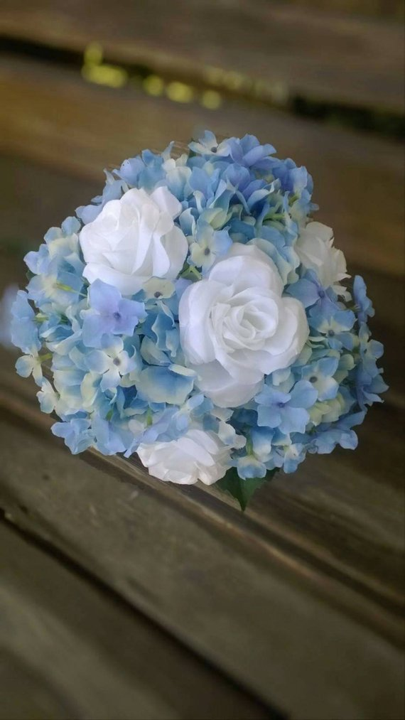 Blue Hydrangea Bridal Bouquet With White Roses And Initial Charm Silk Wedding Flowers For Bri Hydrangeas Bridal Silk Flowers Wedding Hydrangea Bridal Bouquet