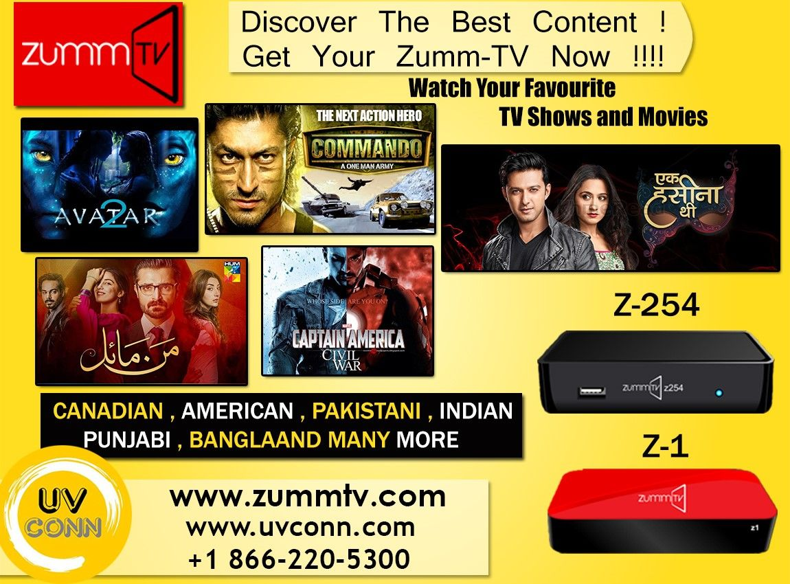 Now Get Relief From Monthly Subscription, Now Pay Your Subscription Charges As Less As You Want With Your Package Rate . Try ZUMMTV IPTV Service . ZUMMTV is a premium service IPTV provider with a wide selection of channels. We have 2000+ Multi-Cultural Channels and wide variety of both Hollywood and Bollywood movies to browse from!! You Can Also Enjoy 100's Of Android Based Apps on Your Tv Screen . For More Queries : Call :1866-220-5300 Visit http://zummtv.com/ today!