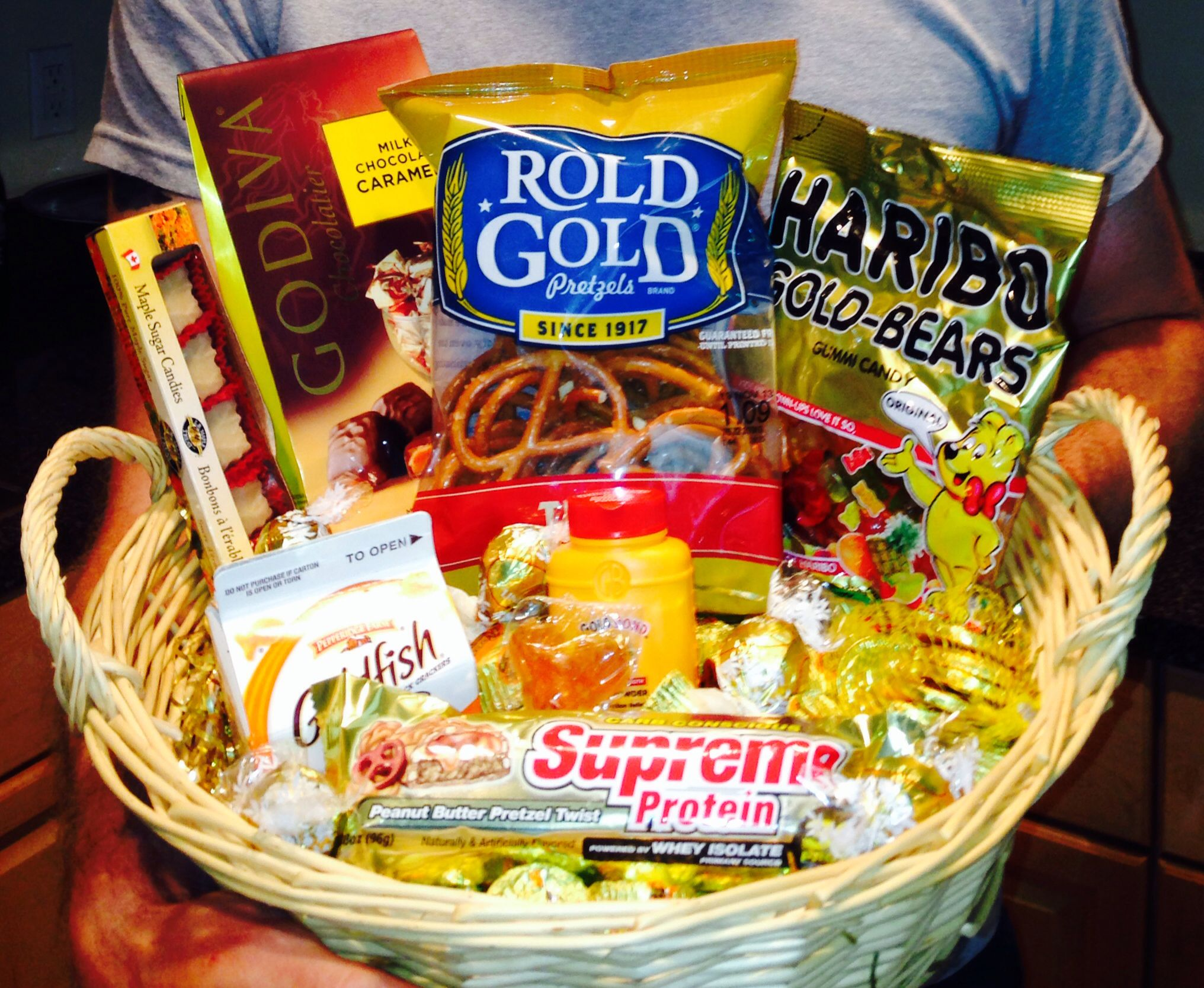 "Basket of ""gold"" for a Golden Birthday t when you turn the age"