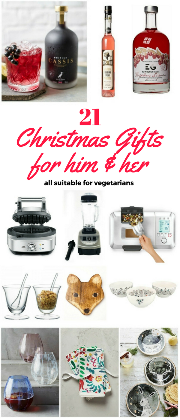21 Christmas Gift ideas for men and woman. Some really good foodie gifts and all suitable for vegetarians.
