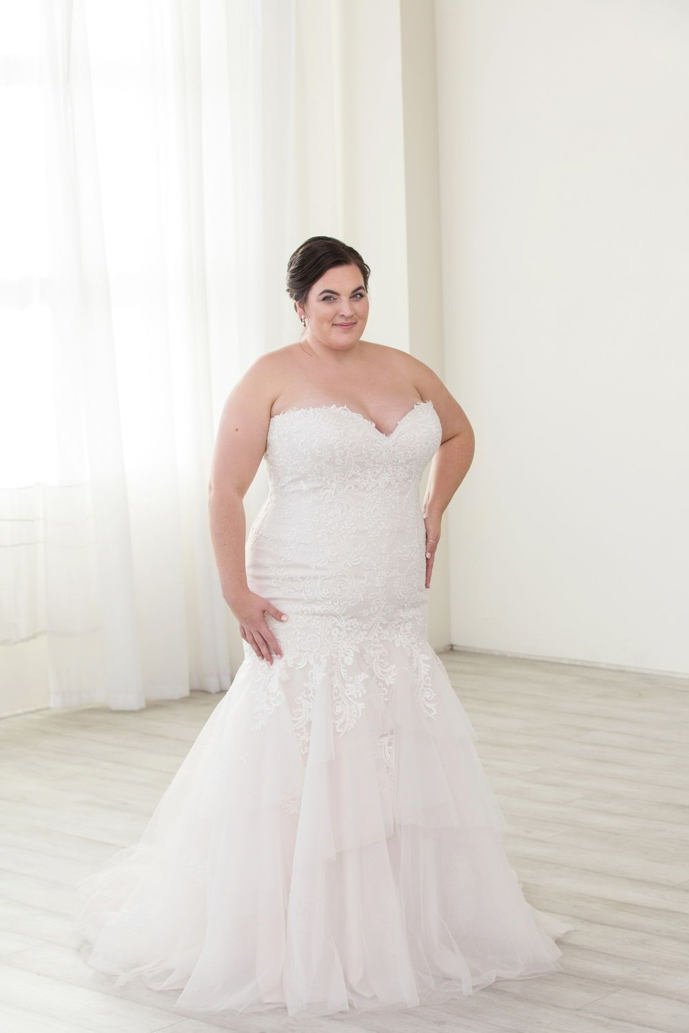 c663f8e2952f1 Strapless mermaid plus size wedding dress. Plus size bridal in Portland,  OR. Lace fit and flare wedding dress.