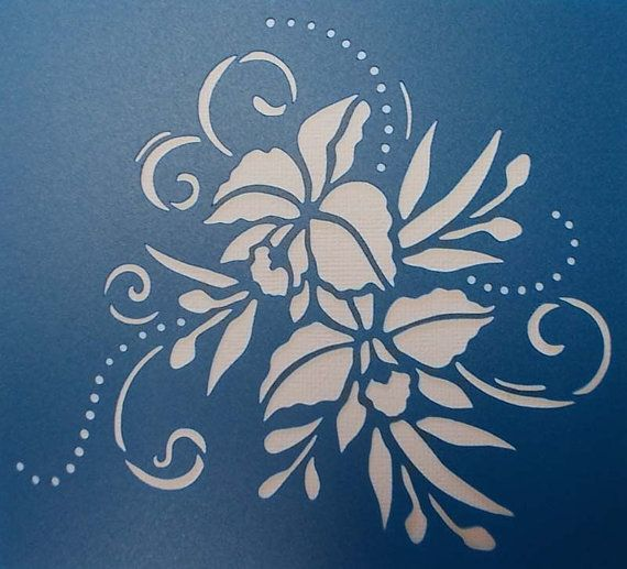 Flourishes and Orchids Stencil by kraftkutz on Etsy