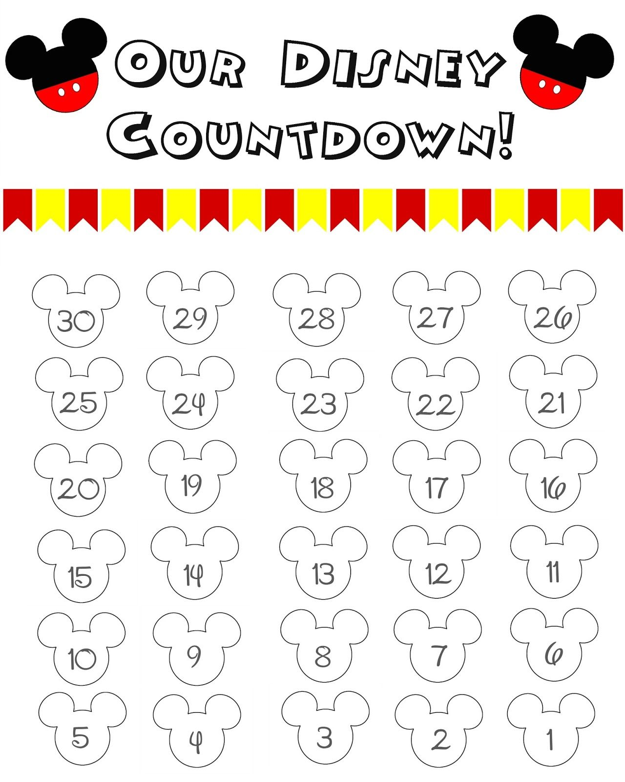 Disney World Countdown Calendar Free Printable Disney