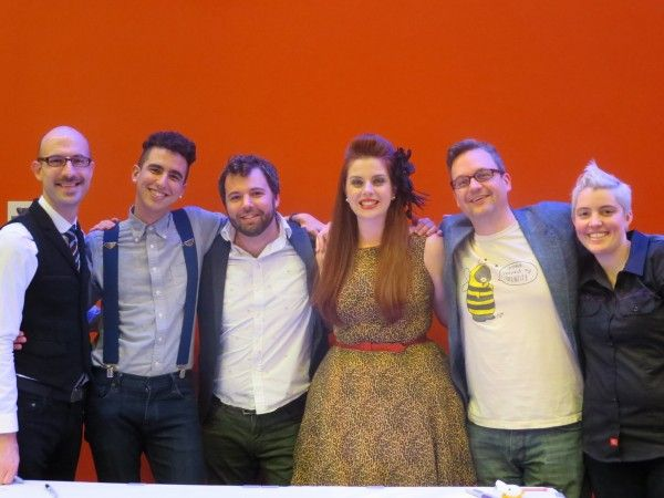 The cast and crew of Welcome to Night Vale: Cecil Baldwin, Dylan Marron, Joseph Fink, Meg Bashwiner, Jeffrey Cranor, and Lauren O'Niell