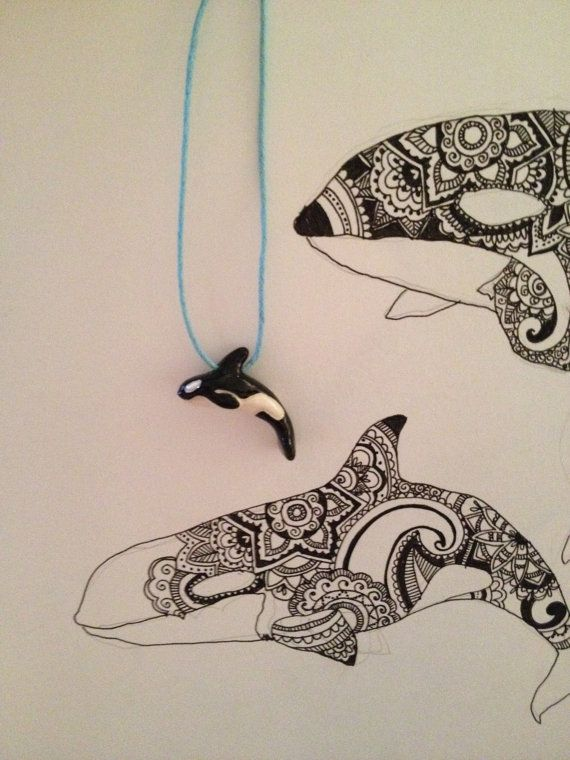 Cute Orca / Killer Whale Blue Waxed Cord Necklace  by JaymieJarvis, $19.00 #morgan #orca #killerwhale #necklace