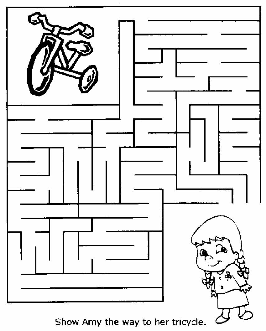 Maze Find Tricycle Mazes For Kids Mazes For Kids Printable Printable Mazes Maze worksheets for year olds
