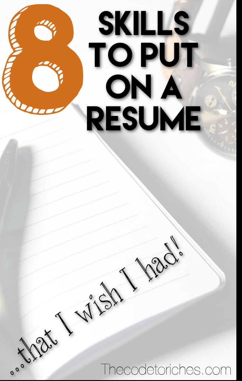 skills to put on a resume that i wish i had personal finance