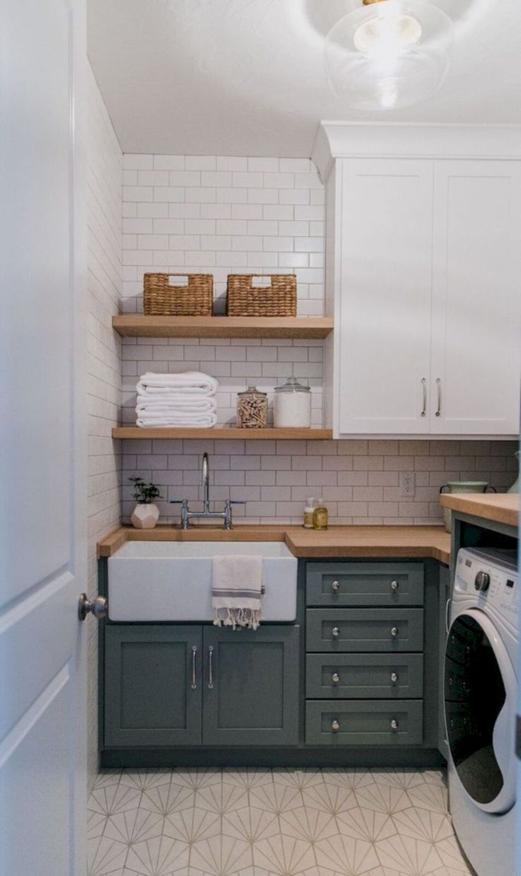 Sink Corner Counter Space Shelves On This Wall Laundry Room