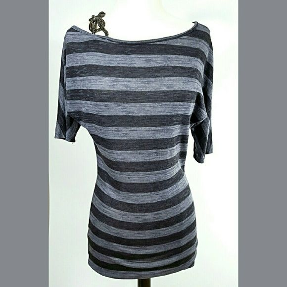 61f36c9ad62 Arden B off the shoulder short sleeve top This dark grey and light grey  striped top with metal embellished drop shoulder strap is a must have! Arden  B Tops