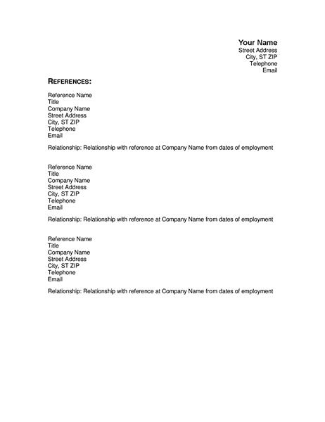 add a list of references to your resume or cv with this reference page that has a name  title