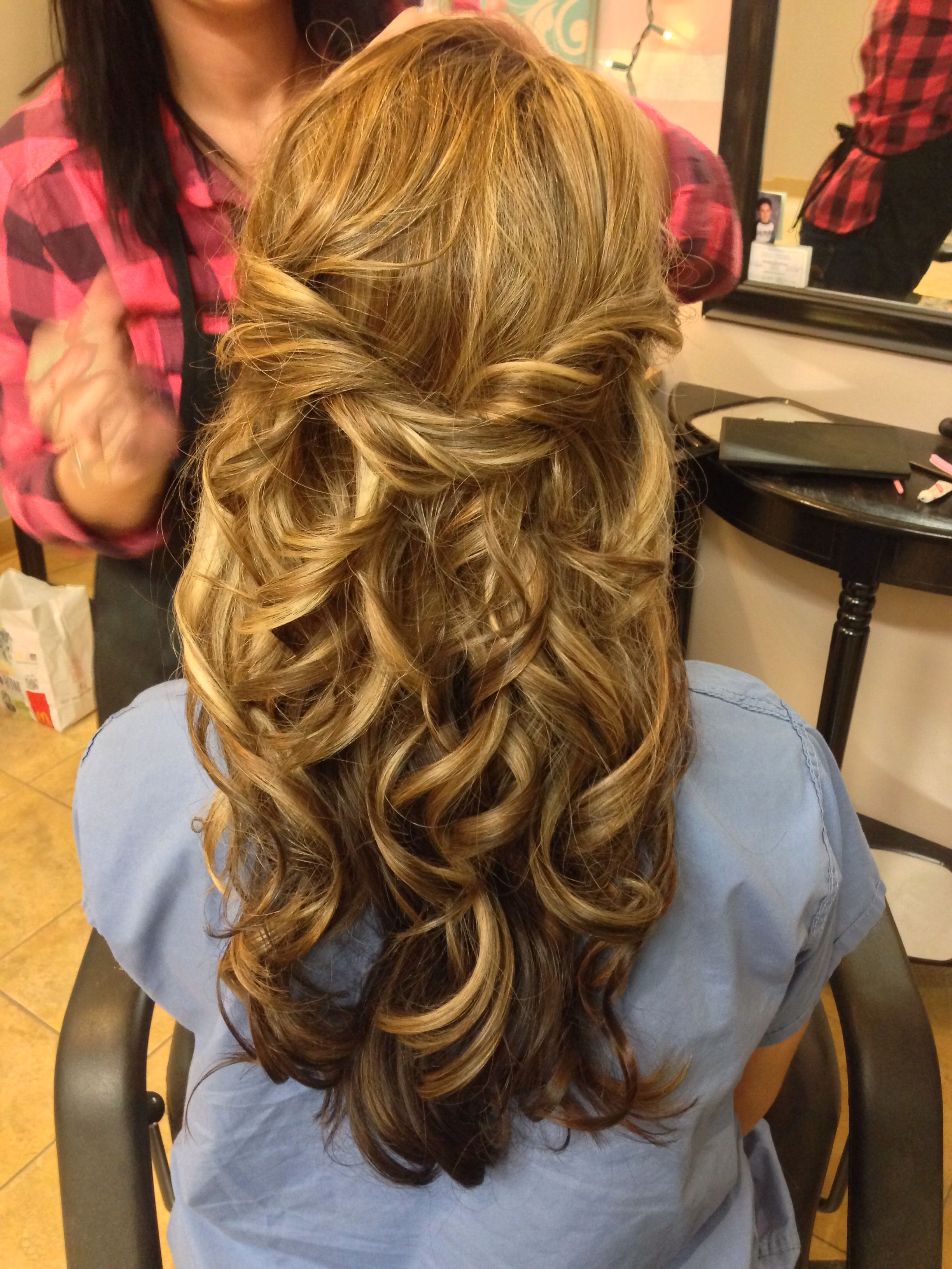 Long hair half up half down style (With images) | Long ...