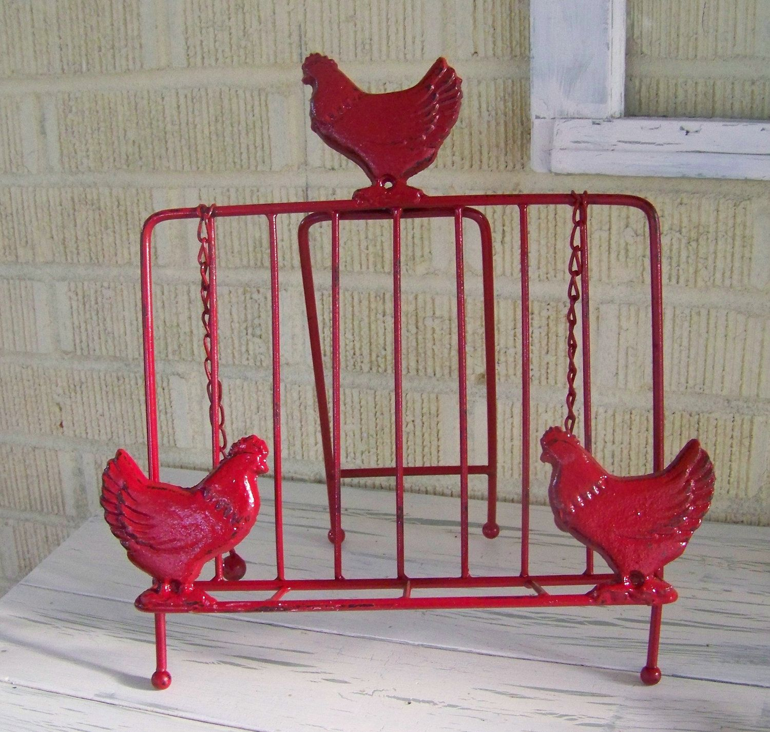 Rustic Cookbook Holder-Chicken Decor-Red Distressed Paint. $22.95 ...