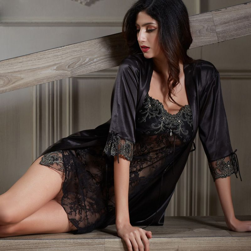 7b8347feaf Xifenni Robe Sets Female Softness Satin Silk Sleepwear Women Pijama Sexy  Black Lace Two-Piece V-Neck Bathrobes Set 2018 NEW 6628 Price  57.94   FREE  ...