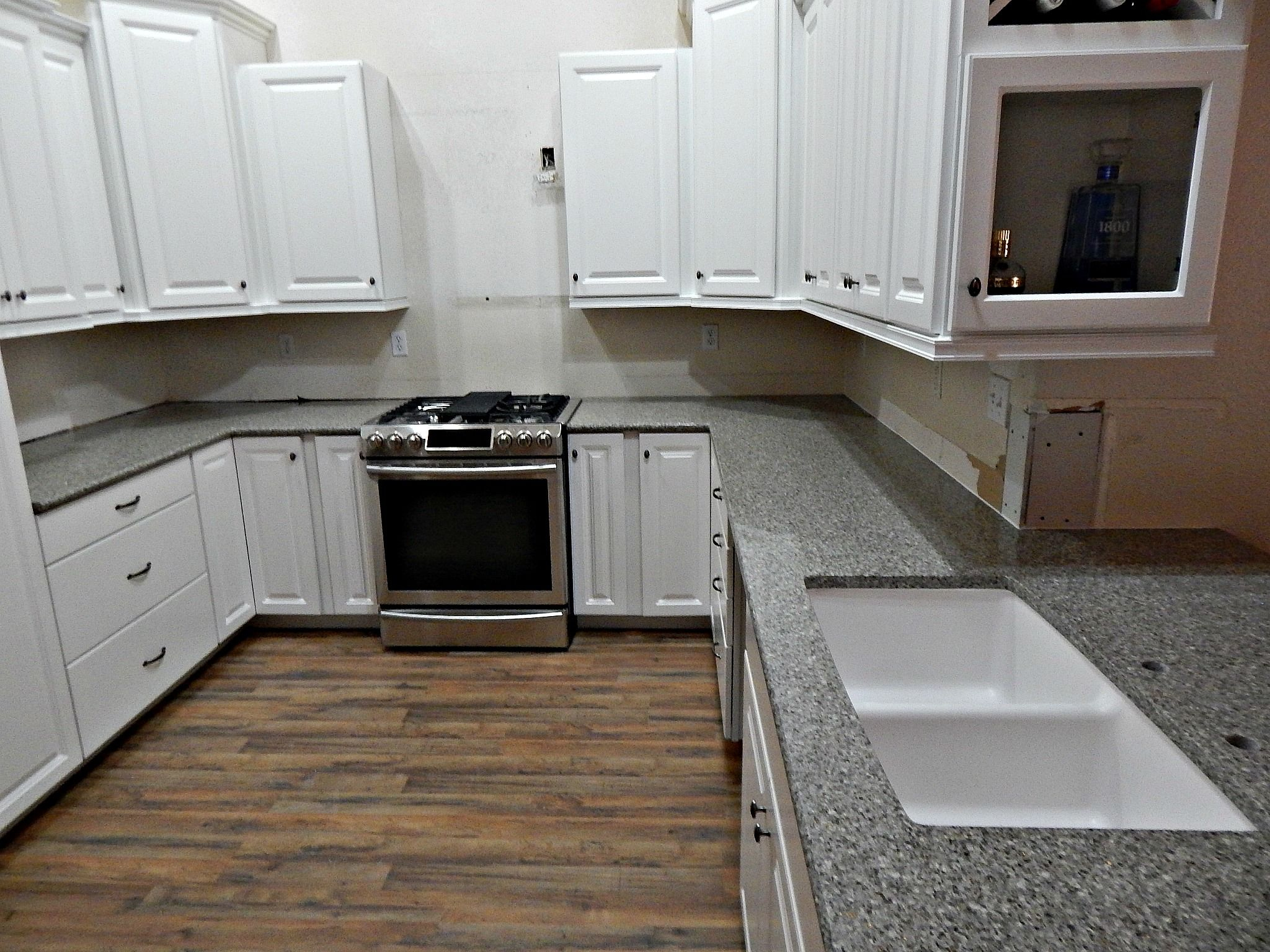 Imperial Gray Granite Countertop Remodel With Half Moon Edge And Granite Composite Under Mount