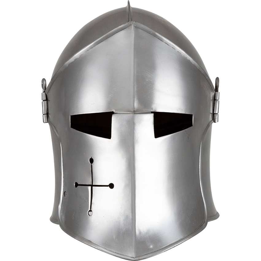 Made Of Mild Steel In Your Choice Of 16 Or 18 Gauge The Polished Visored Barbuta Helmet Provides A Knightly Medieval Helmets Crusader Helmet Historical Armor