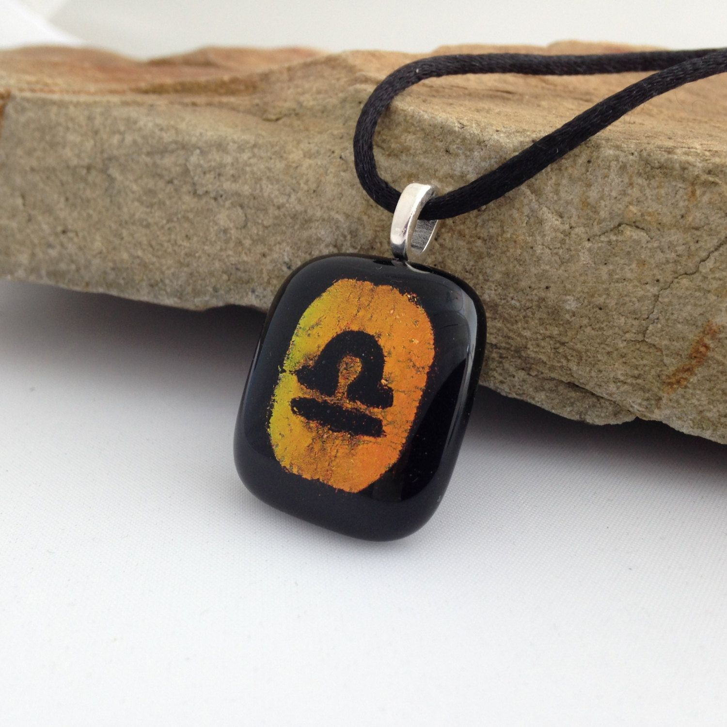 Libra glass pendant necklace signs of the zodiac jewelry by
