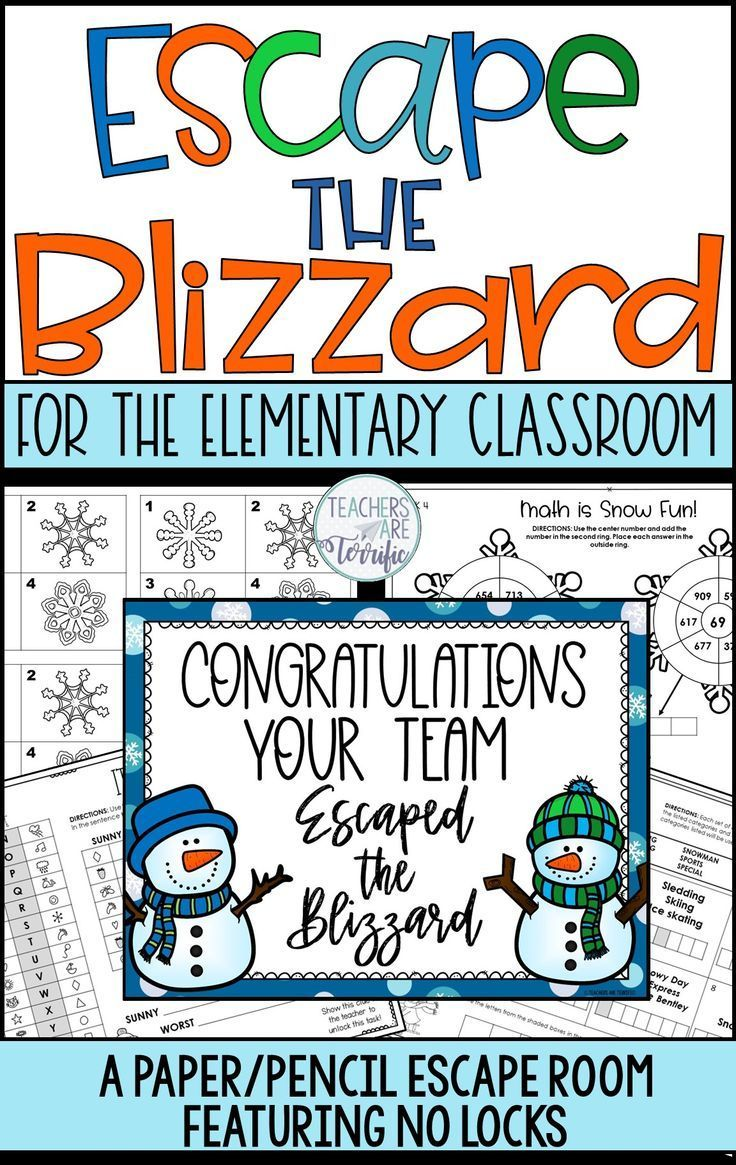 Escape The Blizzard No Locks Escape Room Elementary Classroom Escape Room Classroom Games