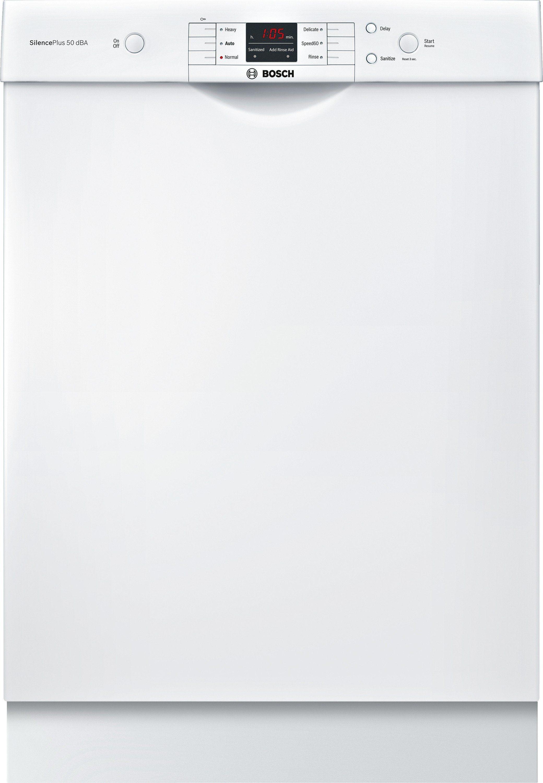Bosch White 24 Inch Dishwasher Shem63w52n Built In Dishwasher Steel Tub Bosch