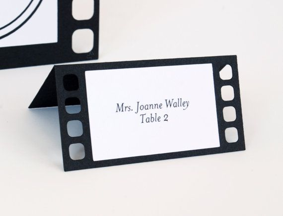 Movie Film Tent Place Cards Set Of 24 Wedding Name Cards Etsy In 2021 Wedding Name Cards Movie Theme Wedding Place Cards