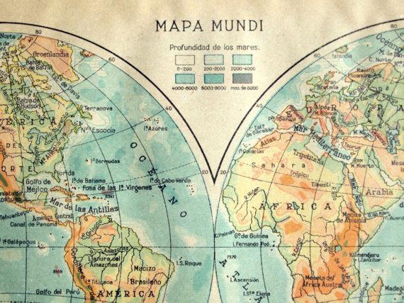 1940 Vintage Map Of World Hemispheres World Hemispheres Vintage