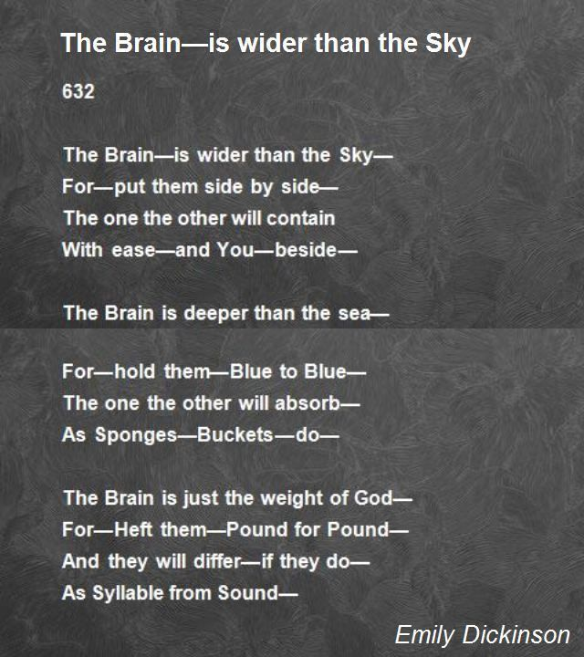 The brain is wider than Emily Dickinsons poem  Poem Hunter  The brain  The brain is wider than Emily Dickinsons poem  Poem Hunter  The brain is wider than Emily Dickinson...