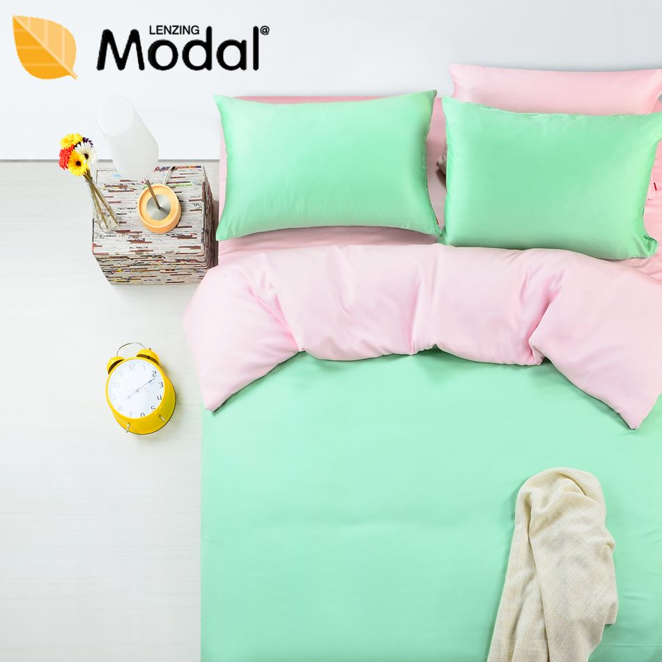 Fedex Free Shipping Modal Bed Sheets Home Textile Fitted Style Piece Set Solid Color Mint