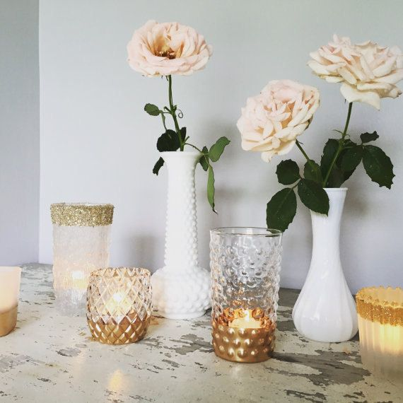 75 Gold Dipped Vases Gold Wedding Decor Gold Vases And Candle