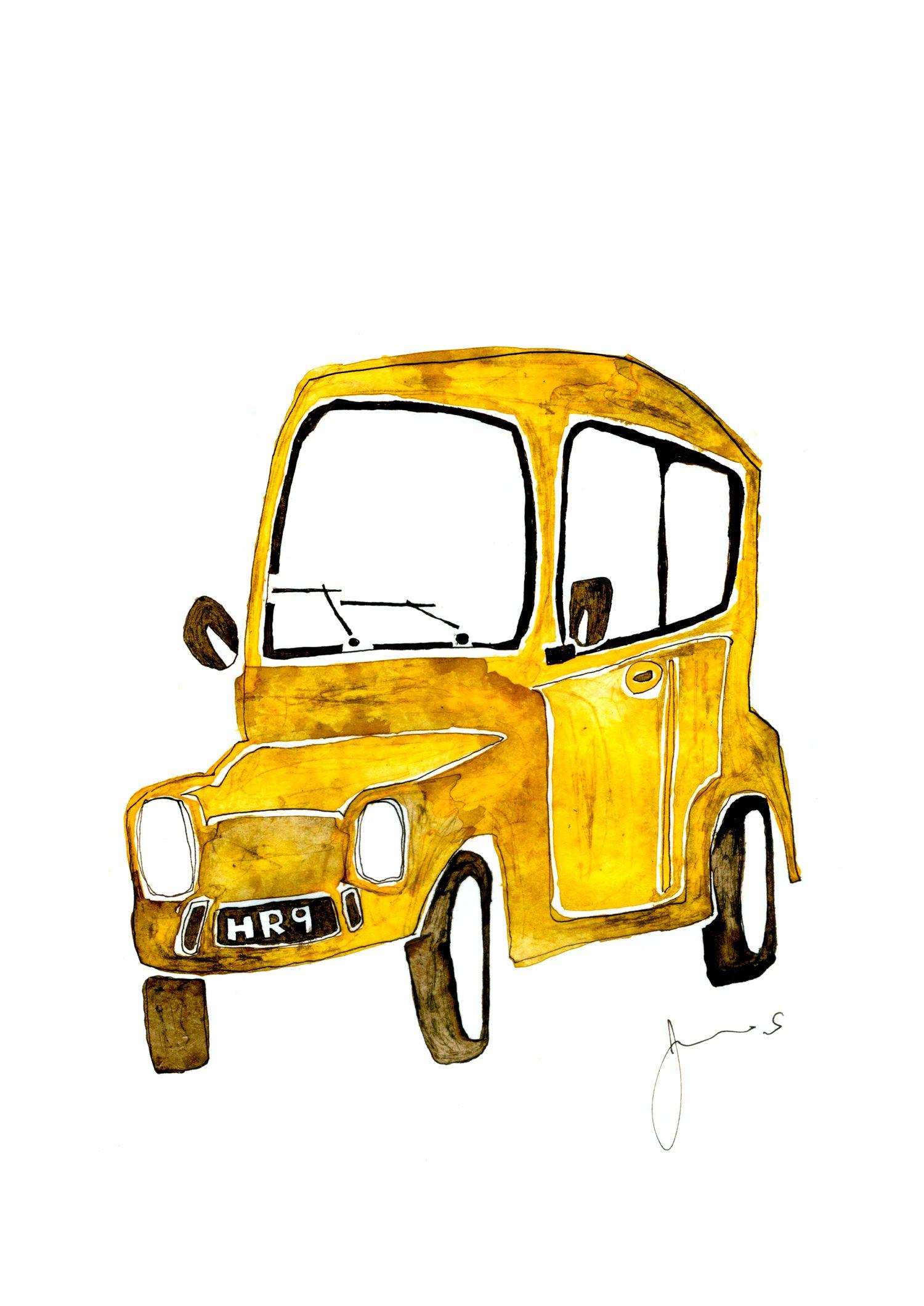 イラスト 車 アート ドローイング インク ペン シンプル 動物