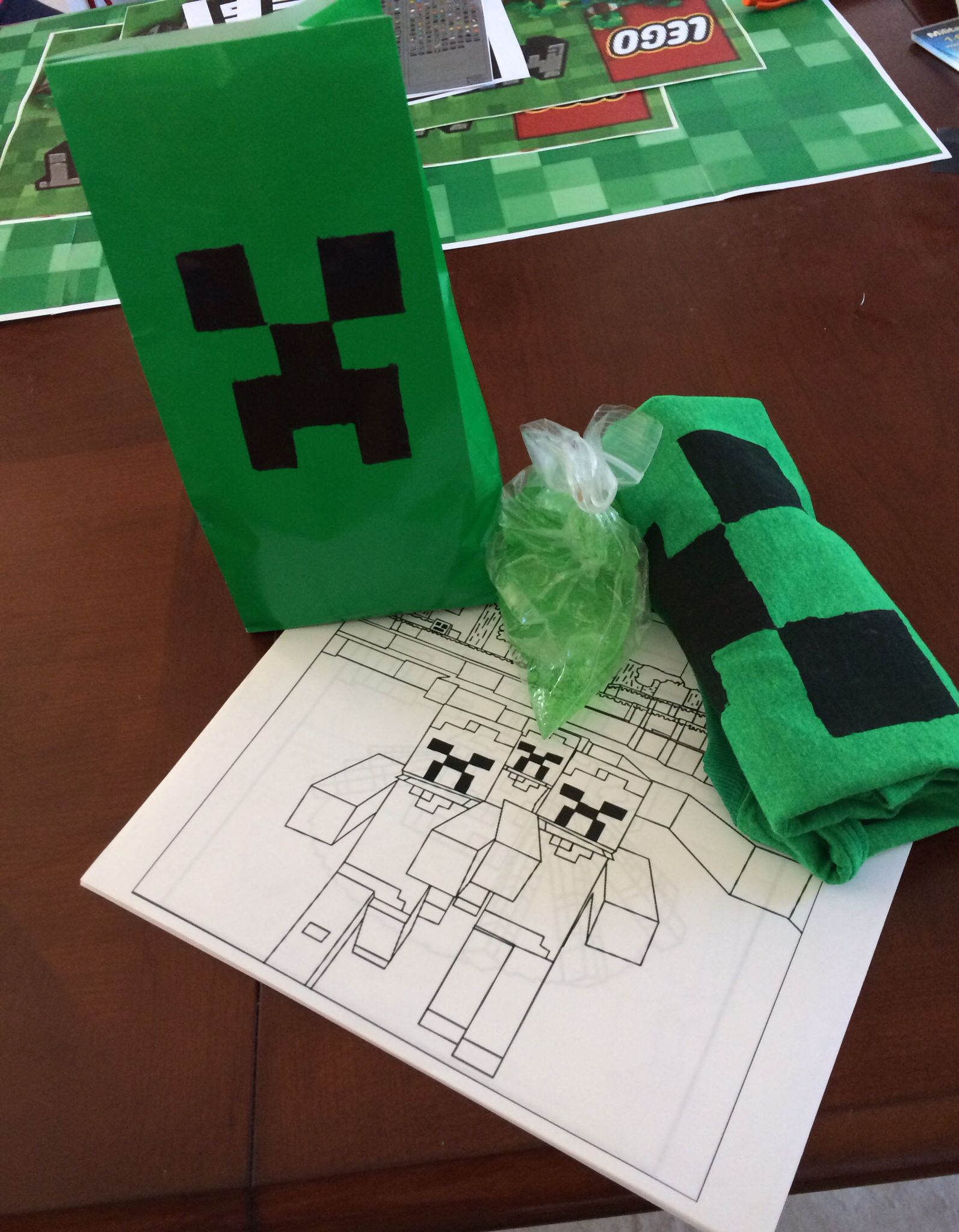 goodie bag idea diy creeper shirt bag of slime diy coloring