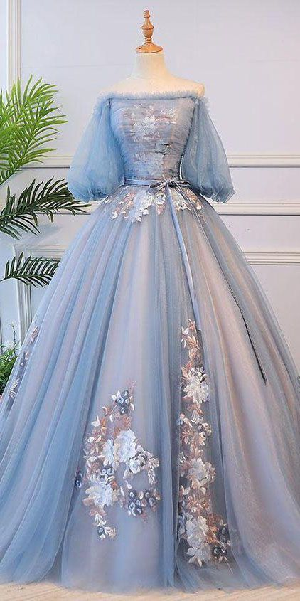 Unique Ball Gown Off The Shoulder Half Sleeves Embroidery Long Tulle Prom Dress/Evening Dress OHC262