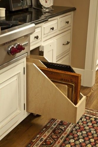 Slide out cutting board drawer in cabinet. Would also work for ...