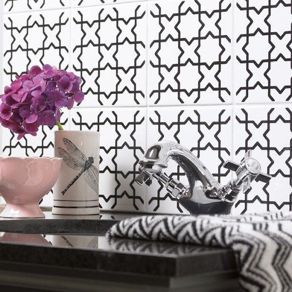 Striking tessellating design taken from the Victoria & Albert Collection. Available in three bold colour combinations: black & white, Blue and Teal.