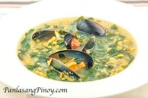 Corn-Soup-with-Mussels-and-Malunggay-Recipe