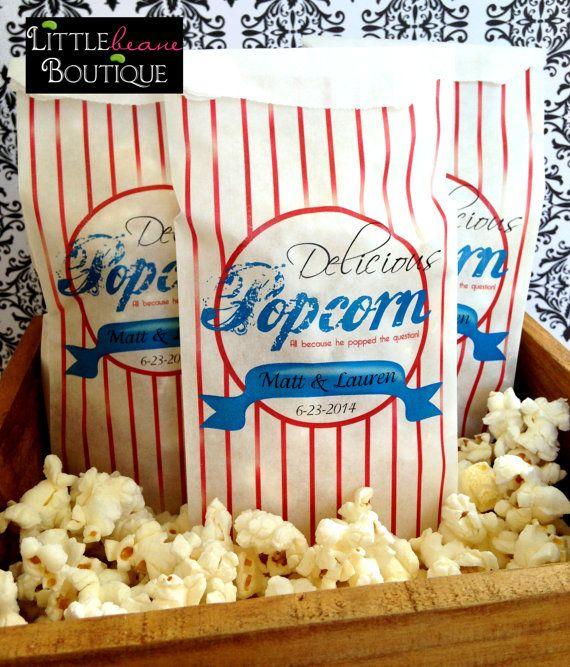 Personalized Popcorn Bags Custom Wedding Bar Supplies Tall Favor Bag