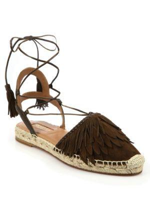 5769ca896 AQUAZZURA Pocahontas Fringed Suede Lace-Up Espadrille Flats. #aquazzura  #shoes #flats