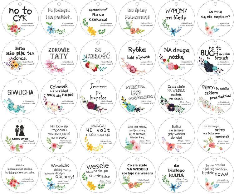 Zawieszki Na Alkohol Wodke Slub Etykiety 30 Szt Wedding Place Cards Wedding Time Weeding Decoration