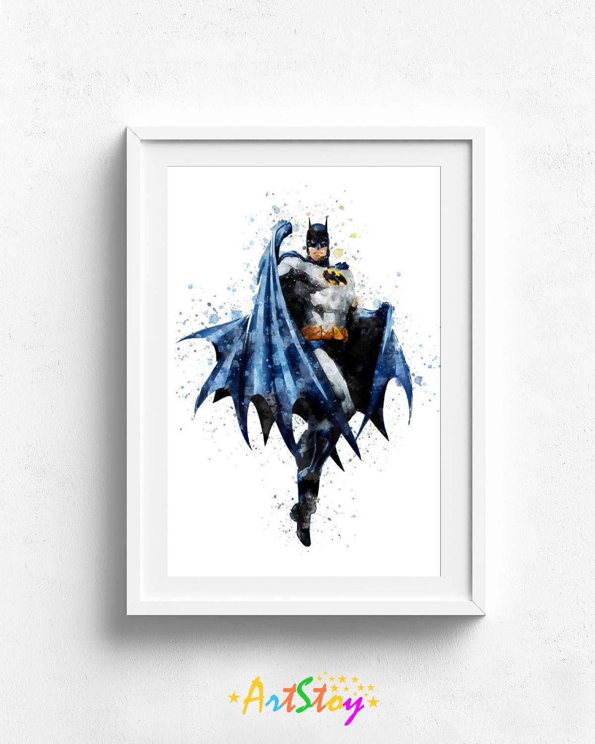 Superhero print, batman wall art, superhero gift, superhero ...