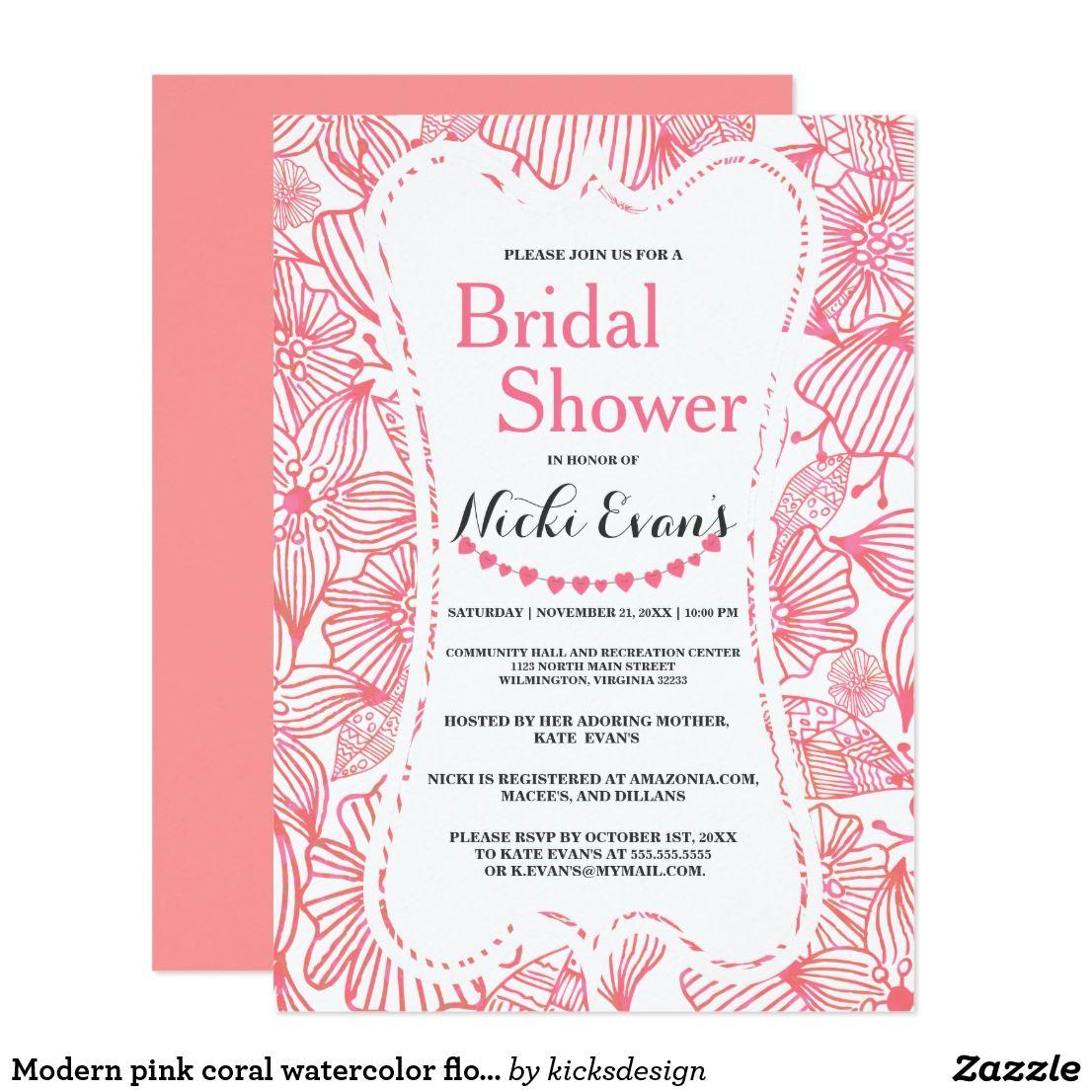 26a6d3376b5e Modern pink coral watercolor floral Bridal Shower Invitation ...