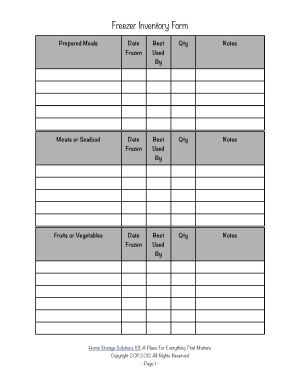 Printable Freezer Inventory Form For Use In Your Home