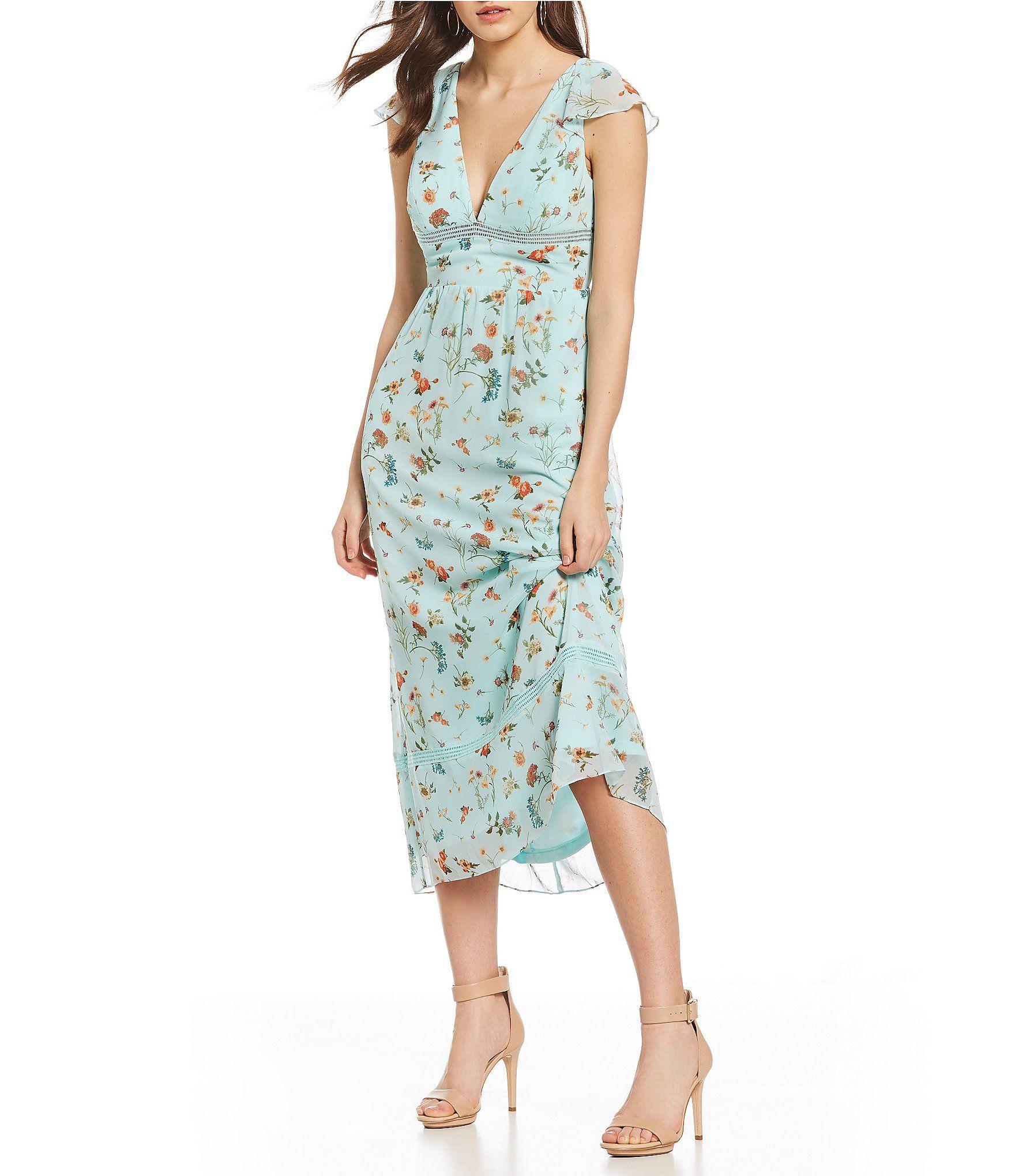69a90bab741 Gianni Bini Stella Ditsy Floral Print Prairie Midi Dress in 2018 ...