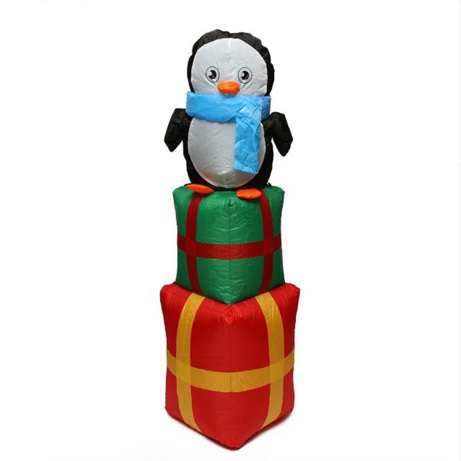 4 Inflatable Cute Penguin On Gift Boxes Lighted Christmas Yard