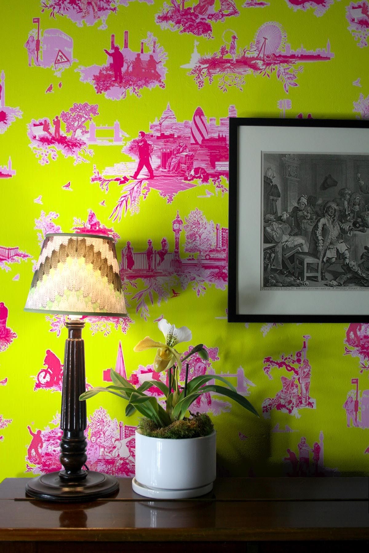 Pink hallway wallpaper  London Toile Brights wallpaper in Pinks on Green by Timorous