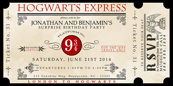 Custom Printable Hogwarts Express Ticket Invitation Manualidades