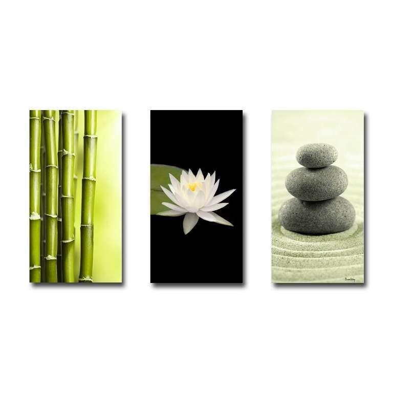 Tableau Triptyque Compo Zen Bambous Nénuphar Galets Déco
