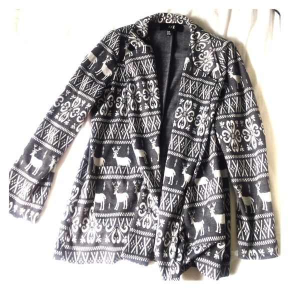 Forever 21 Cloth Jacket Its grey and white and has a cute design with moose on it. It has two pockets on the front bottom, a petal collar and slight shoulder pads. Forever 21 Jackets & Coats